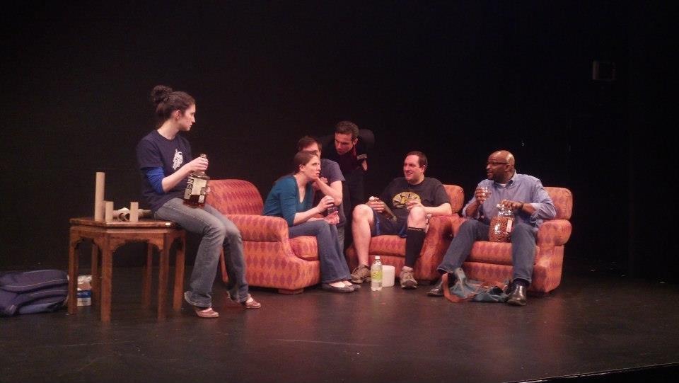 With Jennifer Reddish, Drew Linehan, Preston Graveline, Andrew Hicks, David Lucas and Damon Singletary. Photo Credit: Boston Actors Theater Facebook Page