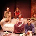 The ensemble of Priscilla Dreams the Answer. Left to Right: Bob Mussett (Harry), Dakota Shepard (Zop), Caroline L. Price (Priscilla), Michael Caminiti (Simon), Emily Kaye Lazzaro (Zip). Photo Credit:  Sarah E. Farbo