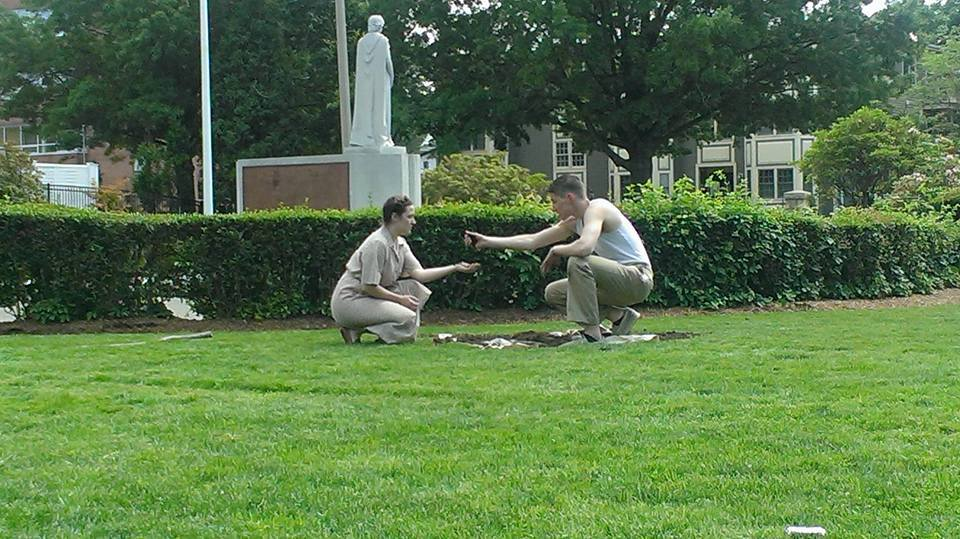 with Meg Di Maggio and Michael Kelly at Veterans' Memorial Cemetery. Photo credit: Matty Mae Theater Project