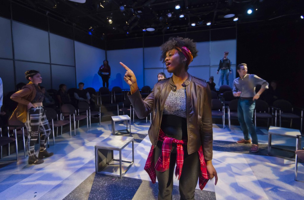 2/9/16 Boston Center for American Performance and New Repertory Theatre present BALTIMORE, A BU New Play Initiative Production by Kirsten Greenidge - Directed by Elaine Vaan Hogue - After she's dismissed from her job in the athletics department, Shelby Wilson becomes Resident Advisor to a group of freshmen—after all, it'll look good on her resume. She soon discovers that a racially charged incident has set student against student, and it's up to her to mediate the situation. In this world premiere production, playwright Kirsten Greenidge explores the complexities of racism from the perspective of eight culturally diverse college students. Boston University Theatre, 264 Huntington Ave. (Lane-Comley Studio 210) 2016-02-09-BALTIMORE_033.nef - Photograph By Kalman Zabarsky