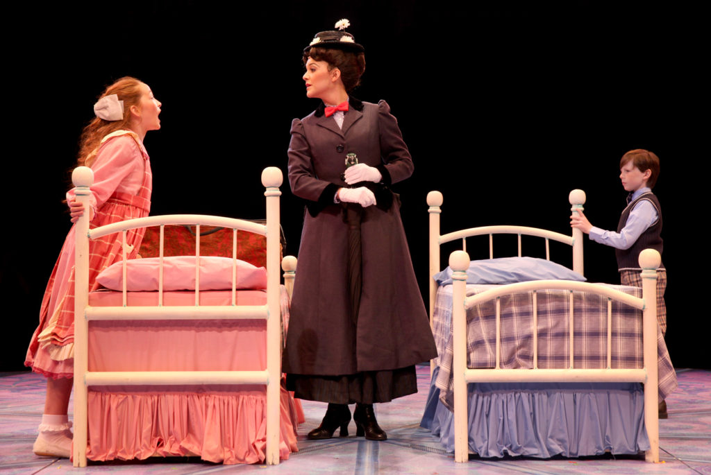 Kerry Conte (Mary Poppins) with Scarlett Keene-Connole (Jane Banks) and Jake Ryan Flynn (Michael Banks), Photo © Paul Lyden.