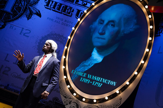Terrell Donnell Sledge starts off the show as George Washington. Photo by Meghan Moore;