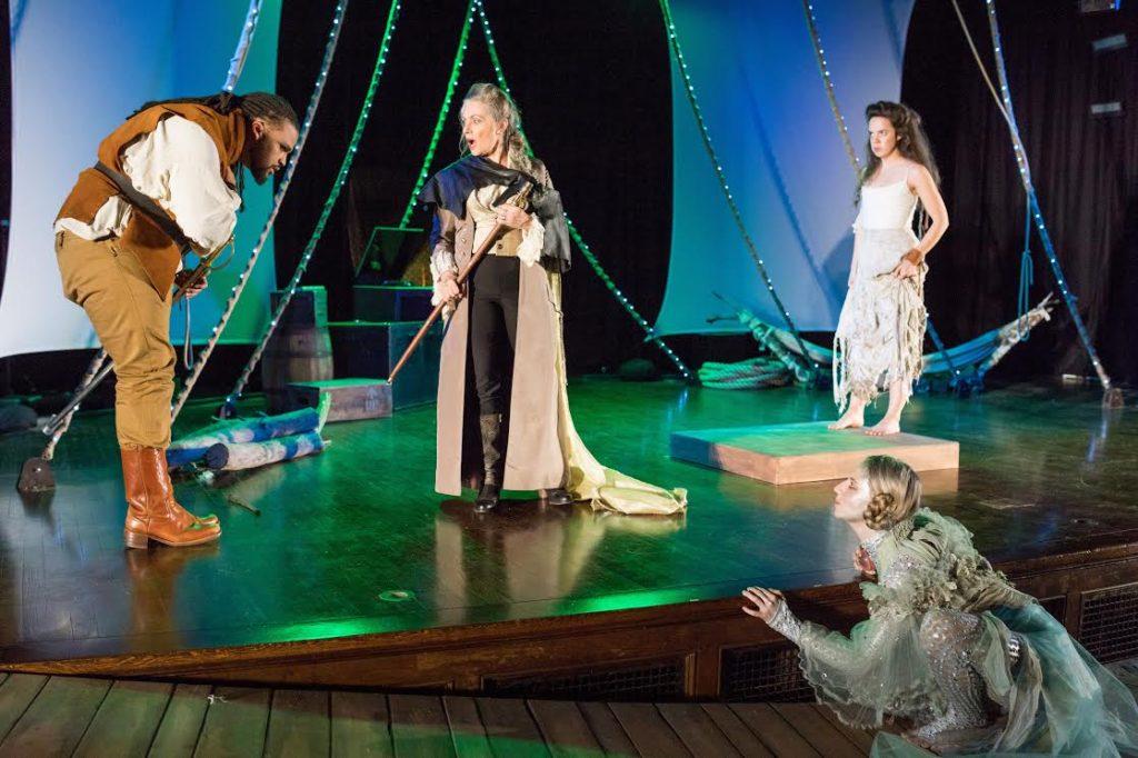 Kai Tshikosi (Ferdinand), Marya Lowry (Prospero), Lydia Barnett-Mulligan (Miranda), and Samantha Richert (Ariel)